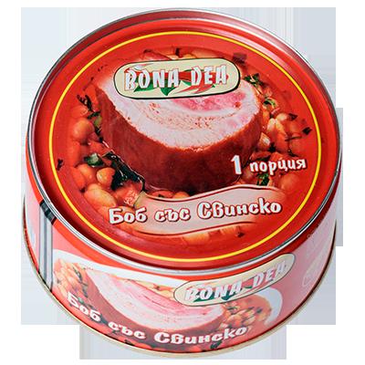 Fasole cu carne de porc 300g.
